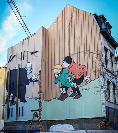 Mural de Hergés en Bruselas