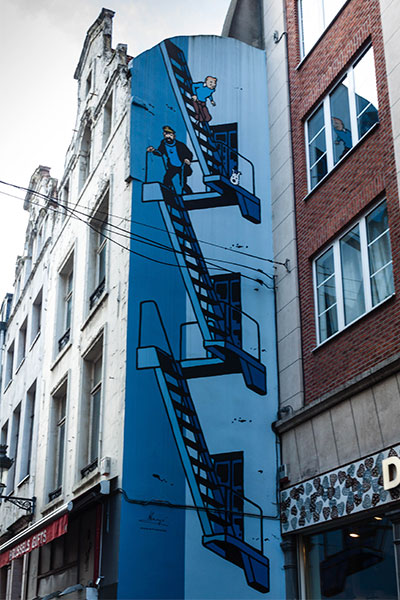 Viñeta del cómic Tintín, de Hergés. Bruselas