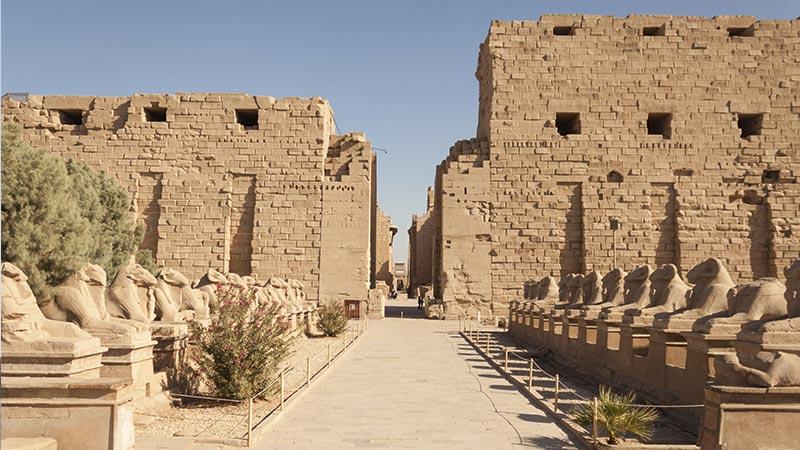 Egipto - Cabras con cuerpo de león custodian la entrada al Templo de Karnak en Luxor